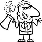 Leprechaun with clover cartoon for coloring — Stock Vector #21365753