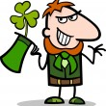 Leprechaun with clover cartoon illustration — Stock Vector #21365907