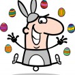 Man in easter bunny costume cartoon - Stock Vector
