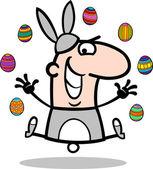 Man in easter bunny costume cartoon — Stock Vector