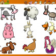 Farm animals set cartoon illustration — Stock Vector