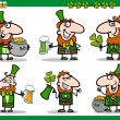 St patrick day themes set cartoon illustration — Stock Vector