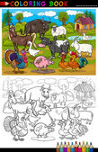 Cartoon Farm and Livestock Animals for Coloring — Stock Vector