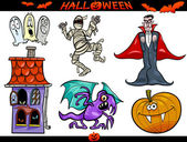 Halloween Cartoon Themes Set — Stock Vector
