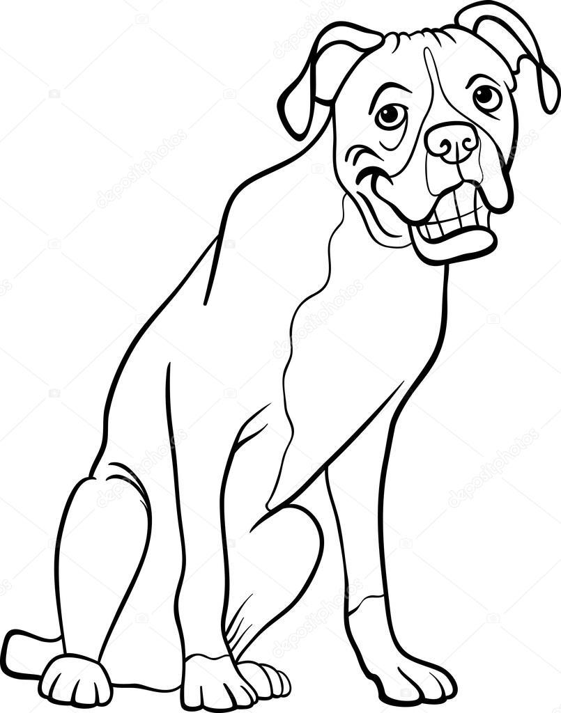 Bokser pies kresk wka dla kolorowanka grafika wektorowa - Coloriage boxer ...