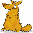 Stock Vector: Happy yellow shaggy standing dog