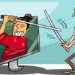 Cartoon man and interactive television — Stock Vector