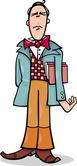 Cartoon poet or eccentric man caricature — Stock Vector