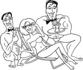 Plaj karikatür mutlu bir kadın — Stok Vektör