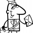 Постер, плакат: Postman with letter cartoon illustration