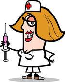 Nurse with syringe cartoon illustration — Stock Vector