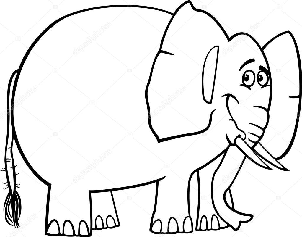 Lindo elefante dibujos animados para colorear libro — Vector de