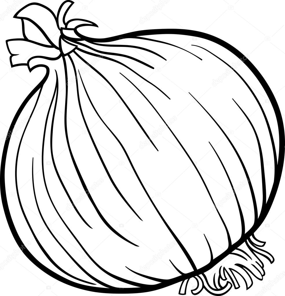 Onion Vegetable Cartoon For Coloring Book Stock Vector