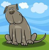 Illustrazione di cartone animato carino grande cane grigio — Vettoriale Stock