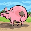 Stock Vector: Pig farm animal cartoon illustration