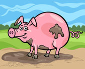 Pig farm animal cartoon illustration — Stock Vector