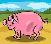 świnia gospodarstwo ilustracja kreskówka — Wektor stockowy