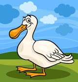 Duck bird farm animal cartoon illustration — Stock Vector