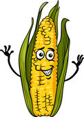 Funny corn on the cob cartoon illustration — Stock Vector