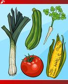 Vegetables set cartoon illustration — Stock Vector