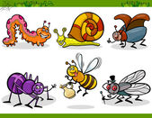 Happy insects set cartoon illustration — Stock Vector