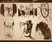 Faces cartoon sketch drawings set — Stock Vector
