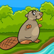Funny beaver cartoon illustration — Stock Vector