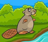 Funny beaver cartoon illustration — Stock Vector