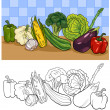 Vegetables group illustration for coloring — Stock Vector