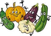 Cucurbit vegetables group cartoon illustration — Stock Vector