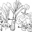 Stock Vector: Cartoon vegetables for coloring book
