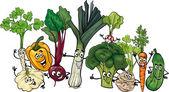 Funny vegetables group cartoon illustration — Stock Vector