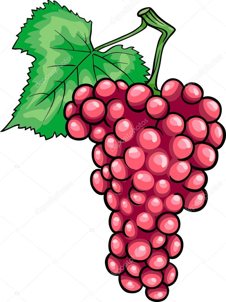 Illustrazione di cartone animato frutta uva rossa
