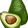 Avocado-Frucht-Cartoon-illustration — Stockvektor