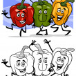 Vegetables group cartoon for coloring book — Stock Vector #26267931