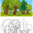 Trees and forest cartoon for coloring book — Stock Vector