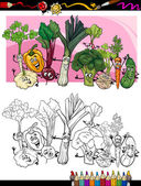 Verduras divertidos dibujos animados para colorear libro — Vector de stock