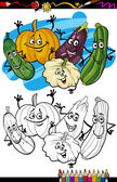 Vegetables group cartoon for coloring book — Stock Vector