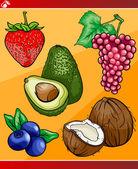 Frutas conjunto de dibujos animados ilustración — Vector de stock