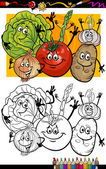 Desenho para colorir livro de grupo de legumes — Vetor de Stock