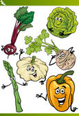 Vegetables cartoon illustration set — Stock Vector