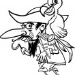 Pirate with parrot for coloring book — Stock Vector #26679245