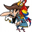 Pirate with parrot cartoon illustration — Stock Vector #26679367