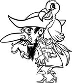 Pirate with parrot for coloring book — Stock Vector