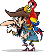 Pirate with parrot cartoon illustration — Stock Vector