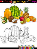 Tropical fruits group for coloring book — 图库矢量图片