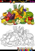 Fruits and vegetables for coloring book — Stock Vector