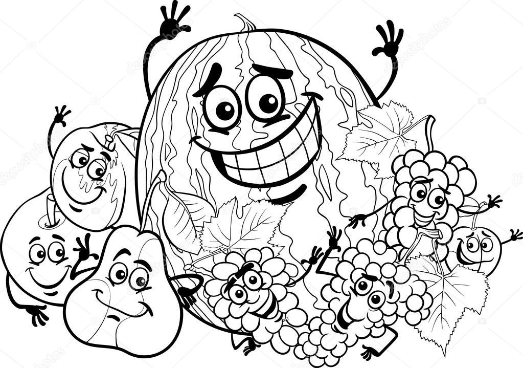 Patos Para Colorear Para Para Con Para Vector Stock Sin: Desenho Animado Grupo De Frutas Para Colorir Livro
