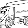 funny truck cartoon for coloring book — Stock Vector #26790009