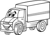 Funny truck cartoon for coloring book — Stock Vector